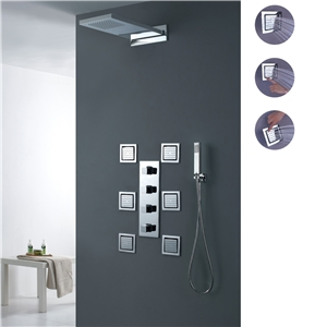 Luxury Waterfall Shower Faucet Wall Mount Rain Shower System with Body Sprays