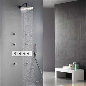 Chrome In-wall Shower Faucet Special Rain Shower System with 6 Body Jet Sprays