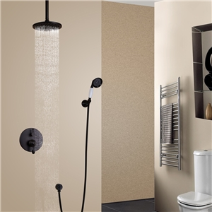 ORB Rain Shower Faucet Antique Black Shower Faucet Set with Ceiling Mount Shower Head