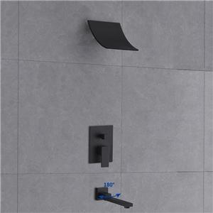 Elegant Matte Black Shower Faucet Modern Waterfall Shower System
