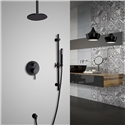 Elegant Solid Brass Shower Faucet Wall Mount Round Rainfall Shower System with Ceiling Mount Shower Head