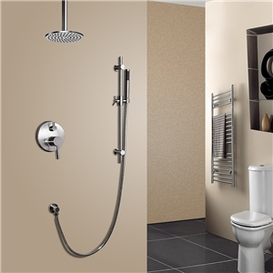 Modern Brushed Nickel Shower Faucet Wall Mounted Round Rain Shower System with Ceiling Mount Shower Head