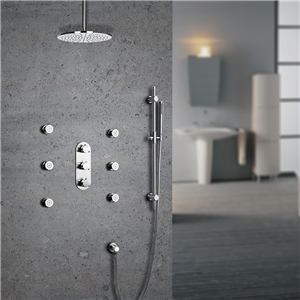 Contemporary Thermostatic Shower Faucet Chrome Rain Shower System with Ceiling Mount Shower Head