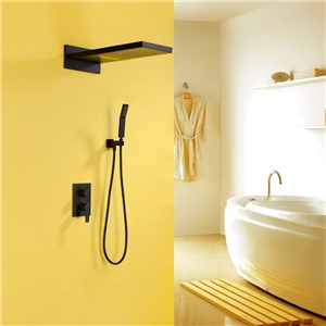 Modern Solid Black Shower Faucet Luxury Wall Mounted Rain Shower Faucet