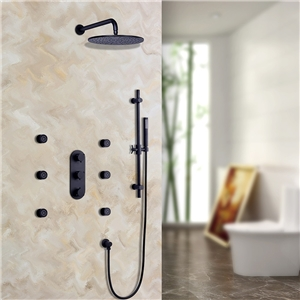Luxury Thermostatic Shower Faucet Solid Black Rain Shower System