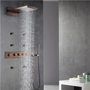 Thermostatic Wall-Mount Shower Faucet Waterfall ORB Shower Faucet with Body Spray Jets