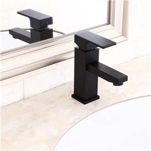 Black Square Sink Faucet Modern Solid Brass Bathroom Sink Tap