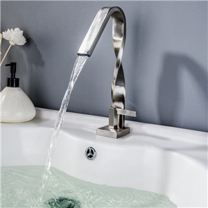 High Twisted Sink Faucet Brushed Nickel Bathroom Sink Tap