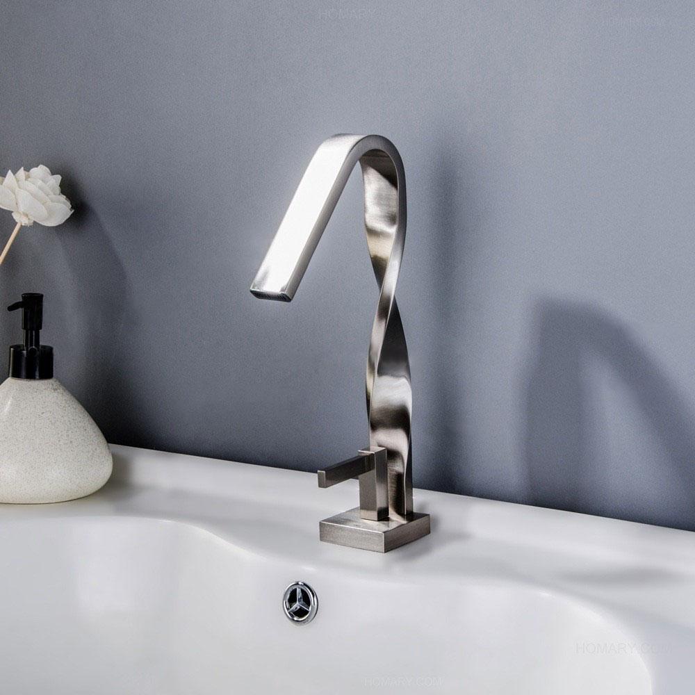 High Twisted Sink Faucet Brushed Nickel Bathroom Sink Tap