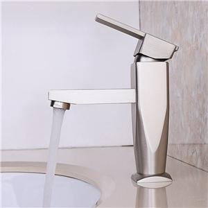 Brushed Nickel Sink Faucet Special Shape Widespread Bathroom Sink Tap