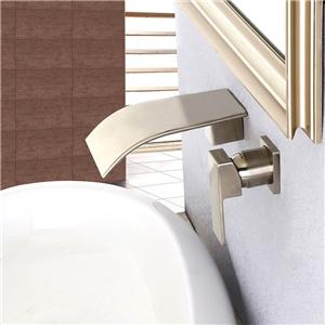 Curved Waterfall Sink Faucet Wall Mount Brushed Nickel Bathroom Sink Tap