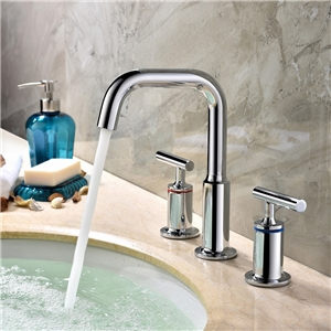 High Round Chrome Sink Faucet Widespread Bathroom Sink Tap