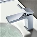 Chrome Flat Sink Faucet Waterfall Deck Mount Bathroom Sink Tap