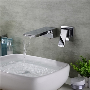 Wall Mount Flat Sink Faucet Solid Brass Waterfall Bathroom Sink Chrome Tap