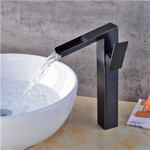 Special Square Bathroom Sink Faucet Solid Brass Waterfall Sink Tap