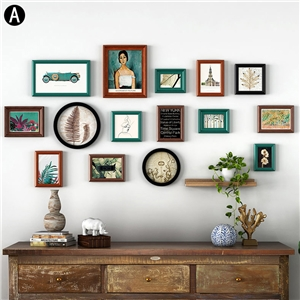 Artistic Picture Frame Solid Wood Modern Photo Wall Photo Frame 15pcs/set YMQZPQ015