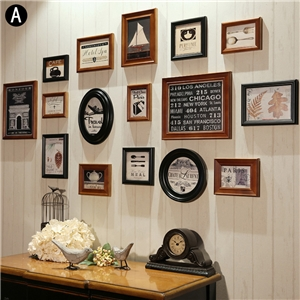 Solid Wood Picture Frame Home Decor Photo Wall Photo Collection Set 16pcs/set