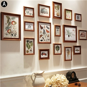 Home Decor Picture Frame Solid Wood Photo Wall Collection Set 16pcs/set ERSCS16