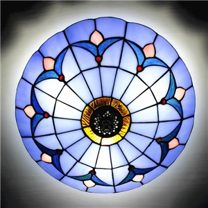 Tiffany Flush Mount Blue Stained Glass 12 inch Flush Mount Ceiling Light  in Tiffany Style