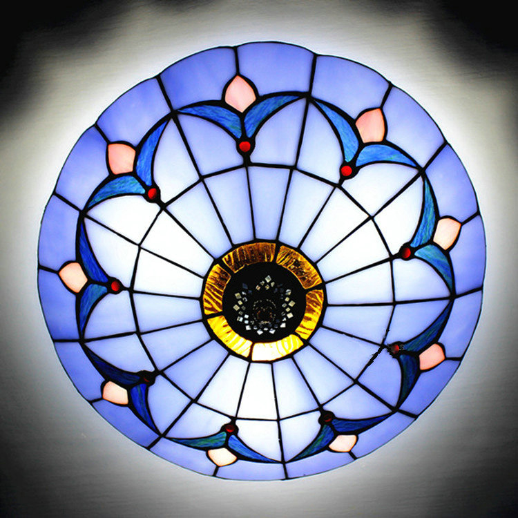 12 Inch Blue Stained Glass Flush Mount Ceiling Light