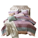 Colorful Stripes Bedding Set Modern Soft Bedclothes Pure Cotton 4pcs Duvet Cover Set