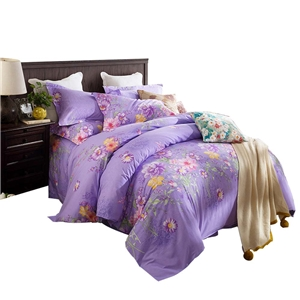 Modern Purple Bedding Set Floral Soft Bedclothes Pure Cotton 4pcs Duvet Cover Set