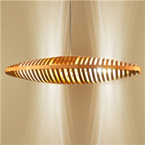 Nordic Wooden Pendant Light Hollow Out Bread Shape Dining Room Cafeteria Light Fixture