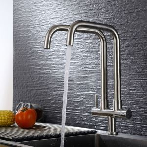High Curved Kitchen Faucet Stainless Steel Kitchen Tap with Double Spouts
