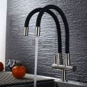 Omni-directional Kitchen Faucet Black Rubber Kitchen Tap with Double Spouts