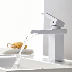 Modern Square Basin Faucet Waterfall White Sink Tap