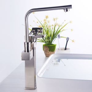 Special Brushed Nickel Faucet Double Spouts Deck Mount Tap