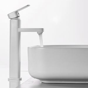 High White Basin Faucet Modern Simple Bathroom Sink Tap