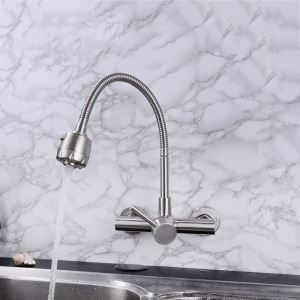 Stainless Steel Kitchen Faucet Wall Mount Omni-directional Kitchen Faucet