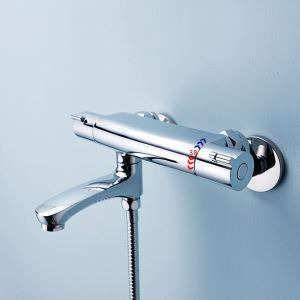 Modern Thermostatic Chrome Diverter Valve with Tub Spout