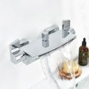 Modern Chrome Shower Thermostat Special Shower Diverter Valve with Waterfall Spout