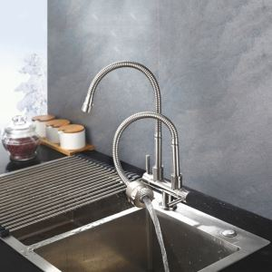 Stainless Steel Kitchen Faucet Omni-directional Double Spouts Kitchen Tap