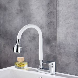 Omni-directional Basin Faucet White Rubber Sink Tap