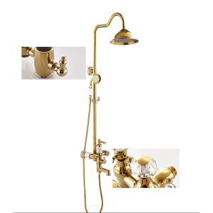 Luxurious Gold Shower System Modern Exposed Shower Faucet