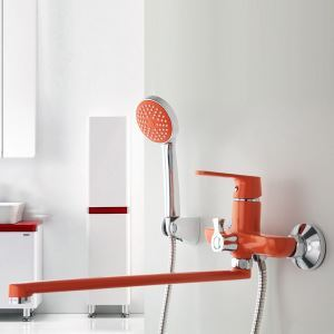 Wall Mount Shower Faucet Modern Red Shower System with Long Spout