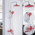 Modern Exposed Shower System Wall Mount Shower Faucet with Red Spout