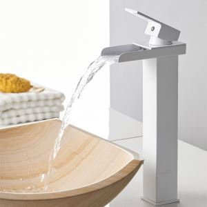 White Waterfall Faucet Modern Square Bathroom Sink Tap
