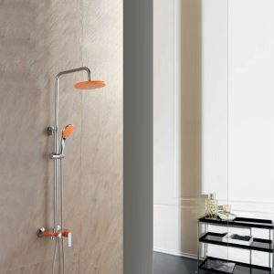Modern Exposed Shower Faucet Wall Mount Shower System with Orange Spout