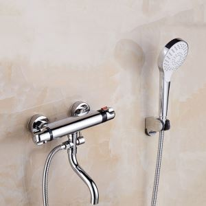 Wall Mount Thermostatic Shower Faucet Chrome Handheld Shower Faucet with Tub Spout