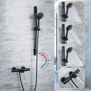 Modern Black Shower System Thermostatic Handheld Shower with Tub Spout and Slide Bar
