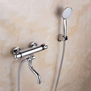 Chrome Thermostatic Shower Faucet Handheld Shower Faucet with Tub Spout