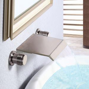 Brushed Nickel Flat Sink Faucet Waterfall Wall Mount Bathroom Sink Tap
