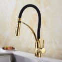 Gold and Black Kitchen Sink Faucet Mixer Tap Swan Neck Pull Down Spray