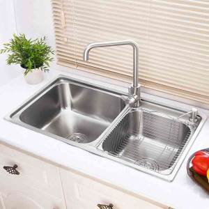 Modern Simple 304 Stainless Steel Sink Double Bowl Kitchen Washing Sink with Drain Basket and Liquid Soap Dispenser AOM8143