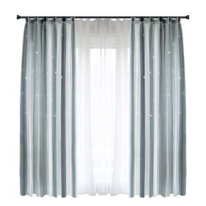 Nordic Simple Stripes Curtain Hollow Stars Jacquard Curtain Living Room Bedroom Fabric(One Panel)