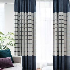 Blue Check Chenille Curtain Nordic Jacquard Curtain Living Room Bedroom Study Fabric(One Panel)